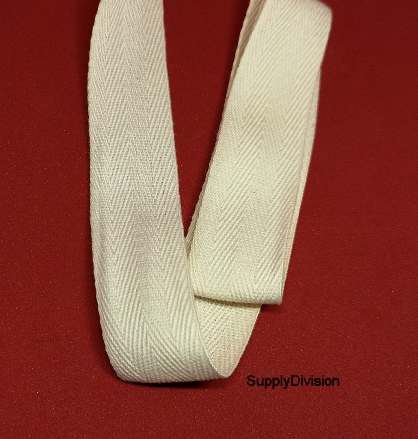 25mm Unbleached 100% cotton twill webbing tape, 100m.